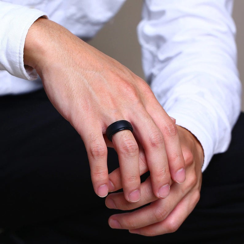 Silicone wedding band black