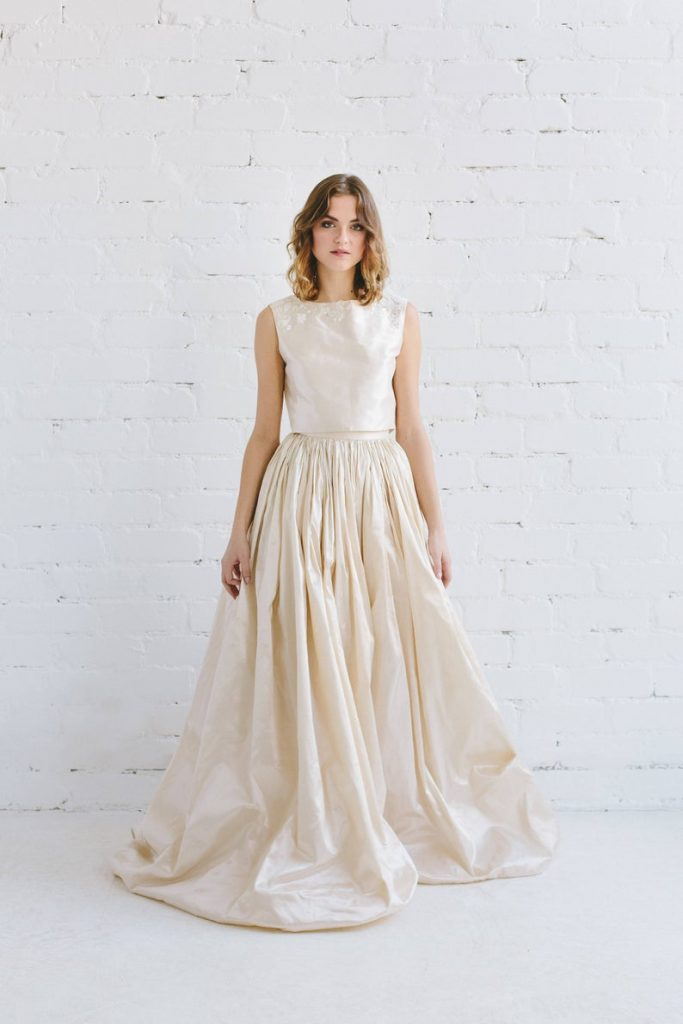 Bride wearing silk taffeta wedding dress