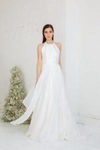Bride wearing silk wedding dress