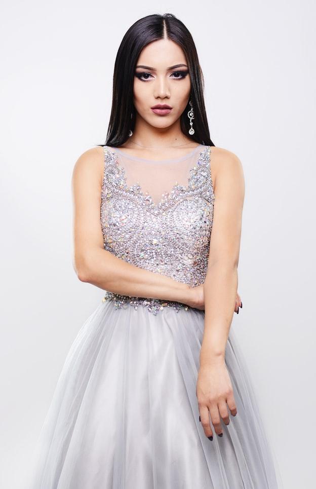 Bride wearing silver-satin wedding dress