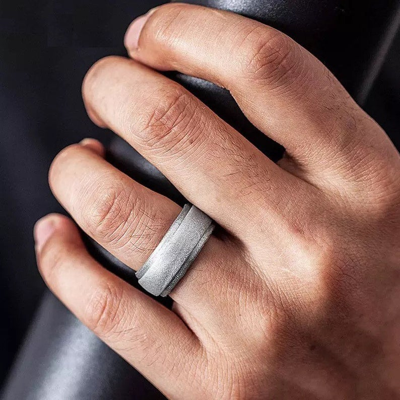Silver silicone wedding band