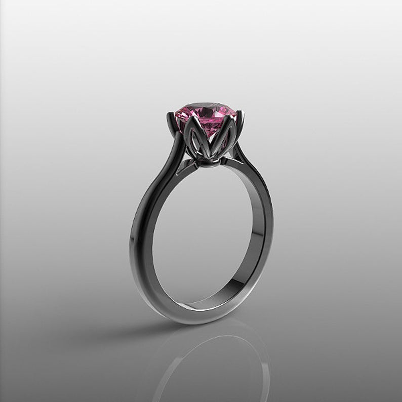 Simple black gold solitaire engagement ring