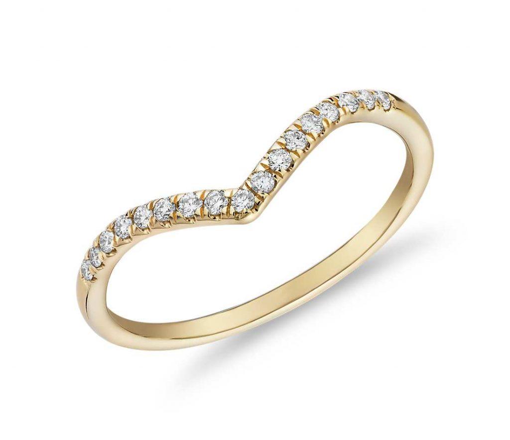 Small v wishbone wedding ring