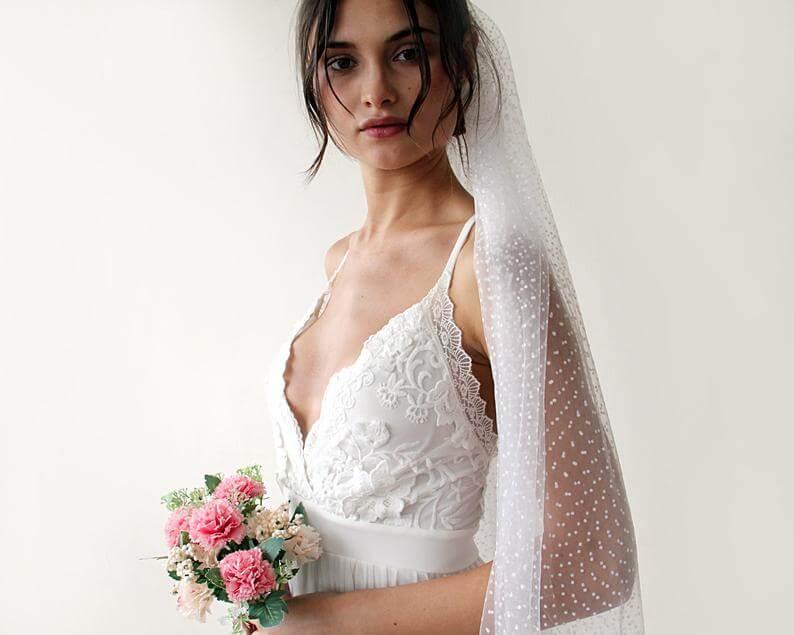 spaghetti strap wedding gown