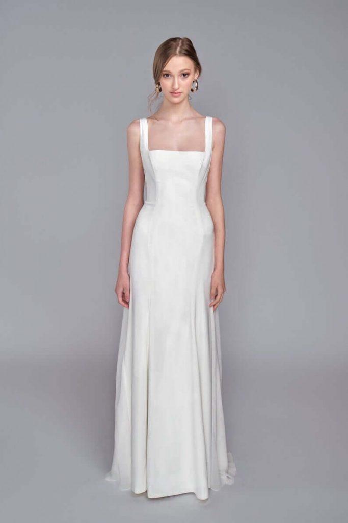 Bride in square neckline dress