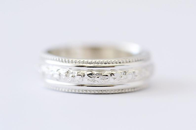 Sterling silver etched ring