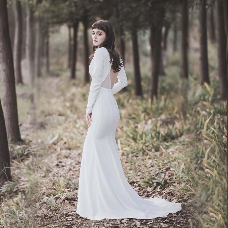 Bride wearing sweep train wedding dress