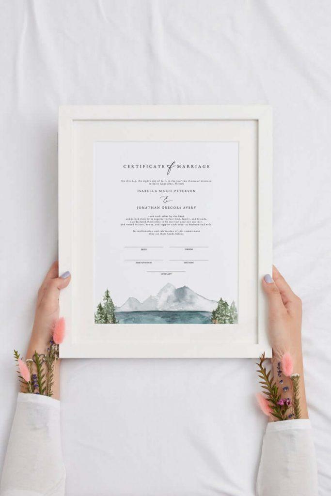 Symbolic wedding certificate
