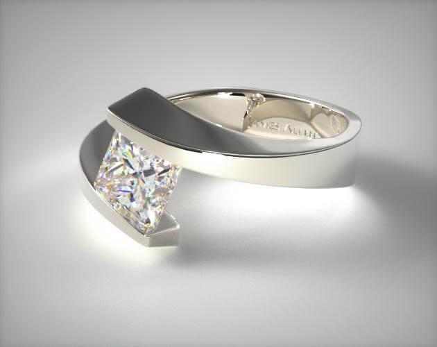 Tension cut princess ring