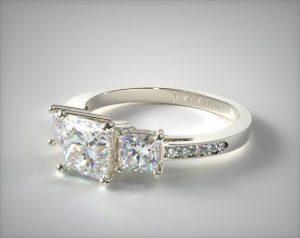 Three-stone princess cut ring