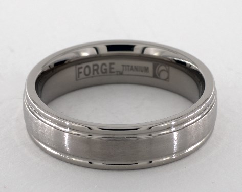 Titanium wedding band closeup