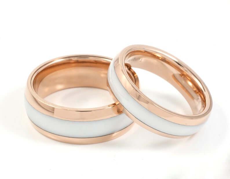 Tungsten ceramic inlay wedding ring