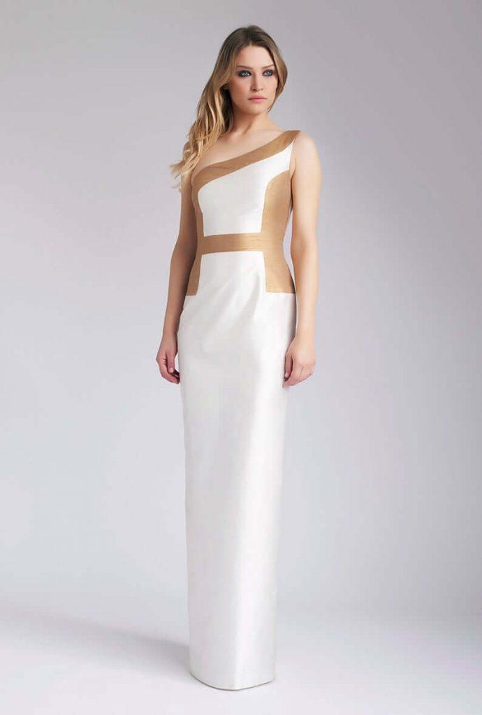 one shoulder unique wedding dress