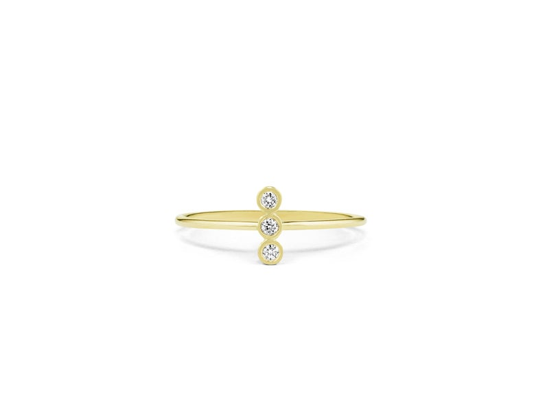 Vertical three stone ring in yellow gold