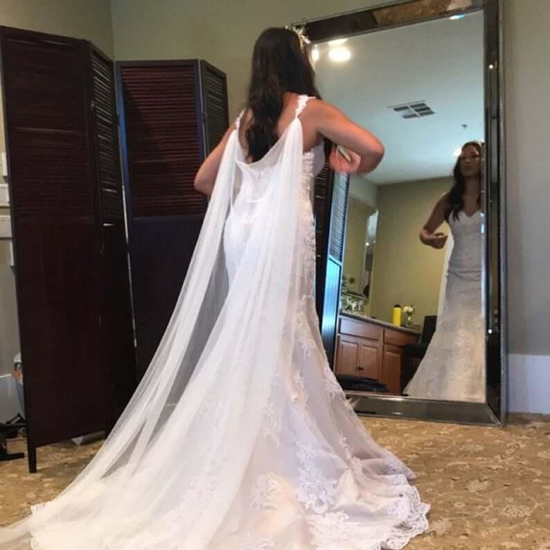 Bride with watteau train