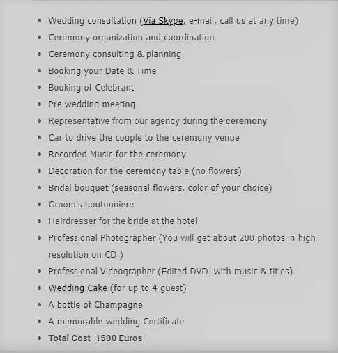 Wedding package inclusions