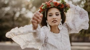 Boho bride in white dress