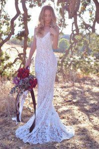 Bride wearing bohemian dress
