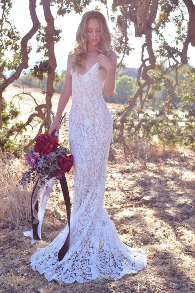 Bride wearing bohemian dress