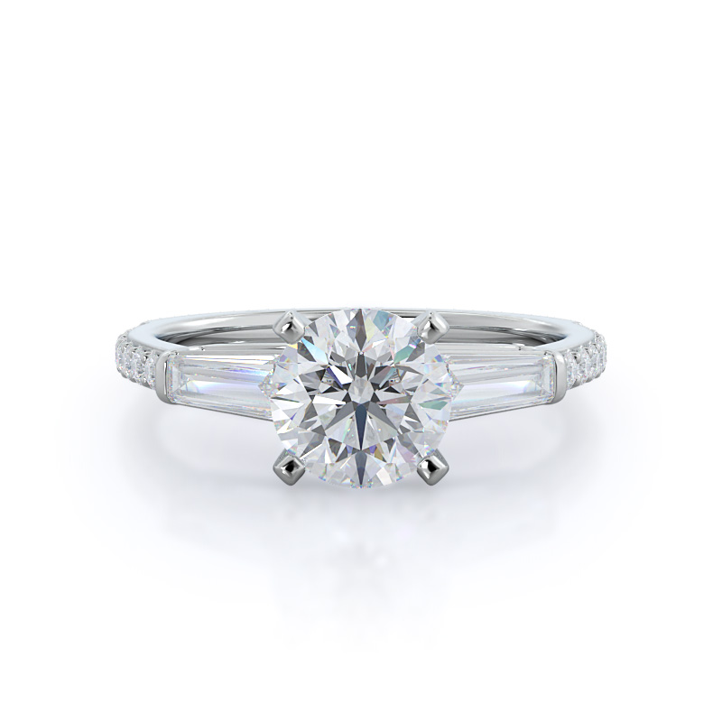 white gold engagement ring with round shape diamond