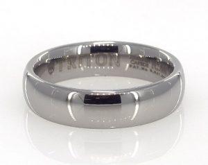 White tungsten domed wedding ring