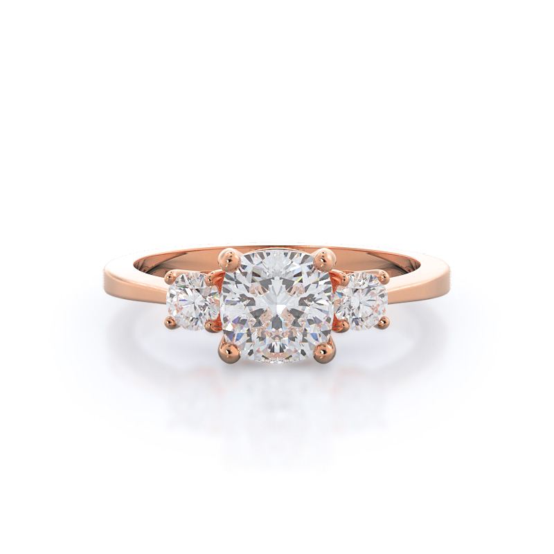 Cushion cut engagement ring in rose gold