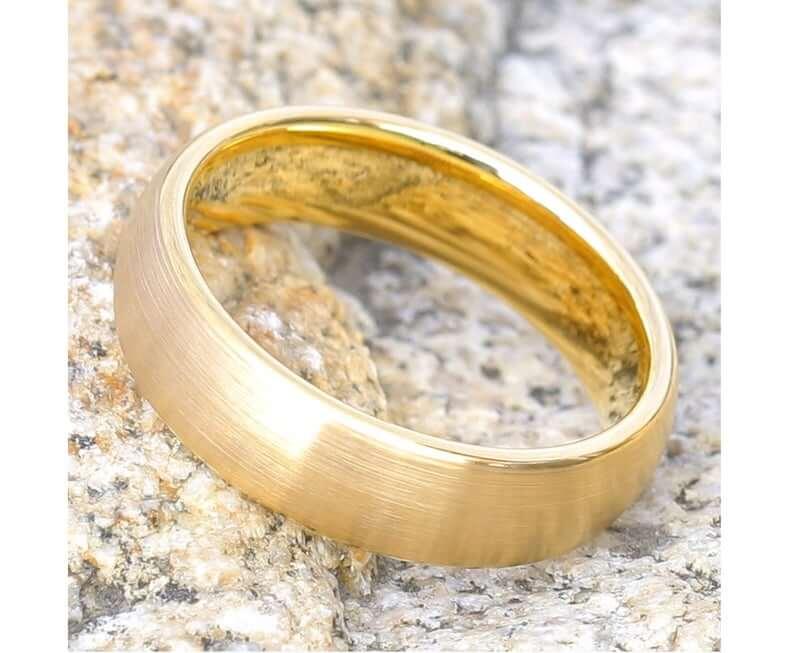 Yellow gold tungsten wedding band