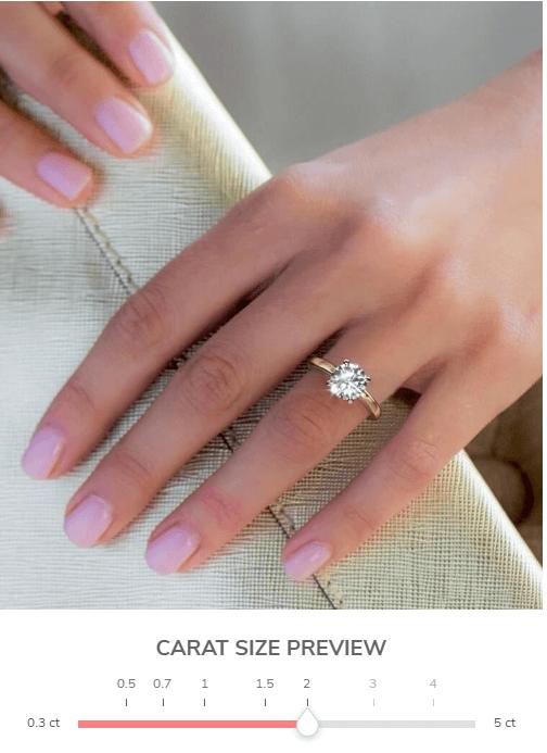 2 carat round shape diamond on girl's finger