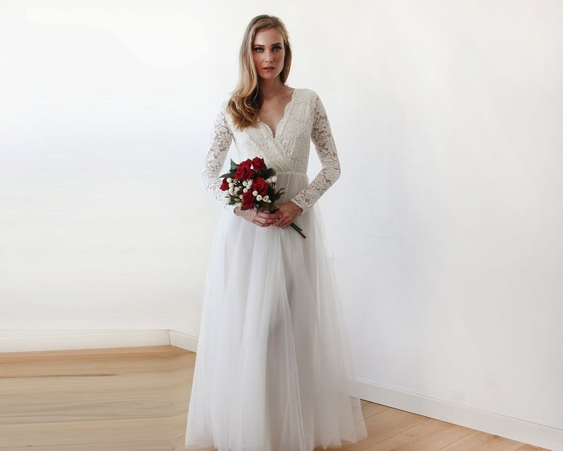 Ivory Lace Long Sleeves Wedding Dress Tulle and Lace Bridal image 0