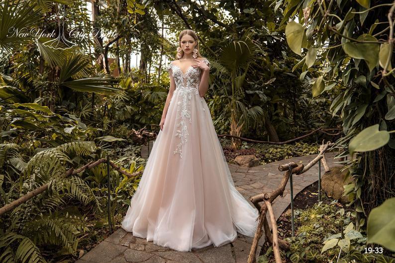 Bride wearing a line wedding dress