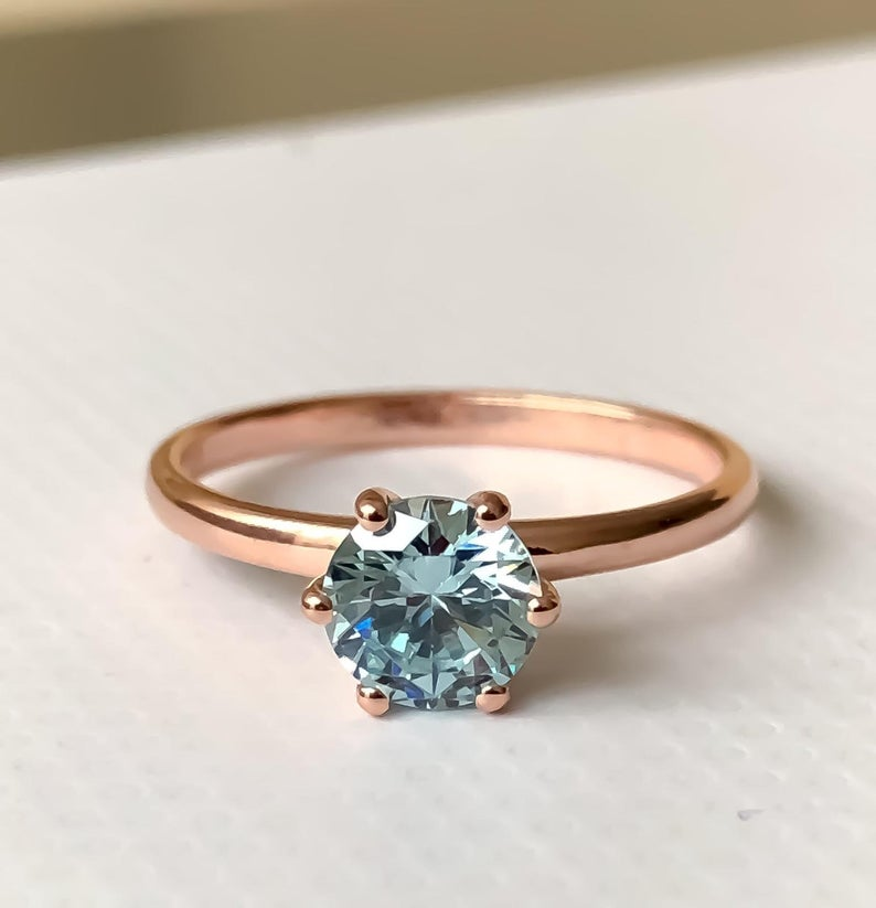 Aquamarine birthstone ring in rose gold closeup