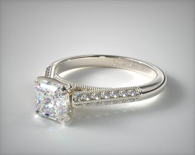 Asscher cut engagement ring vintage style