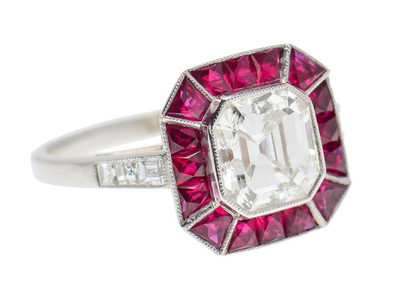 Asscher shape diamond and red ruby engagement ring