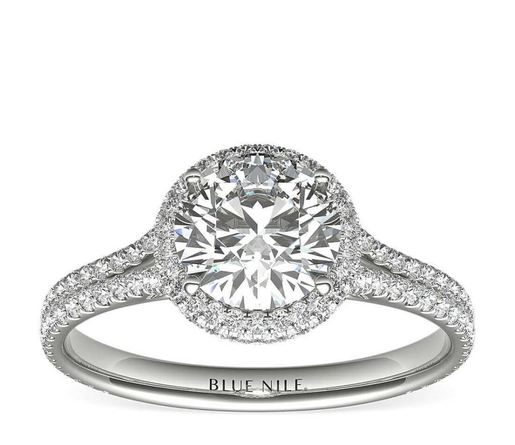 2-carat round shape engagement ring