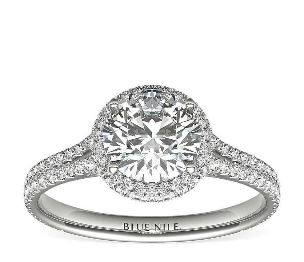 2-carat round shape engagement ring