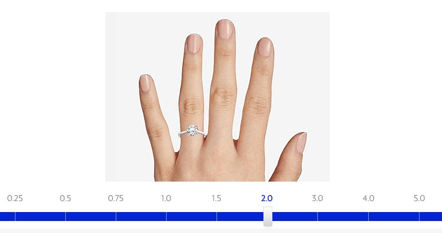 Blue Nile shows 2 carat diamond preview