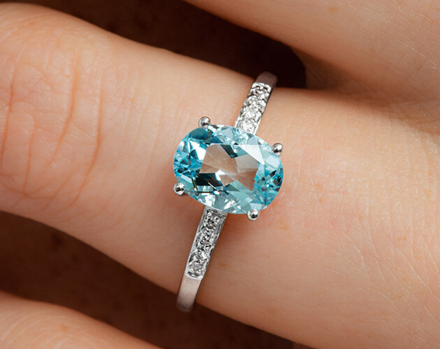 Blue solitaire aquamarine