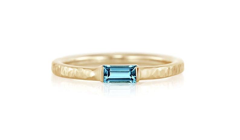 Blue topaz minimalist ring