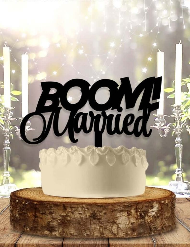 boom married wedding cake topper