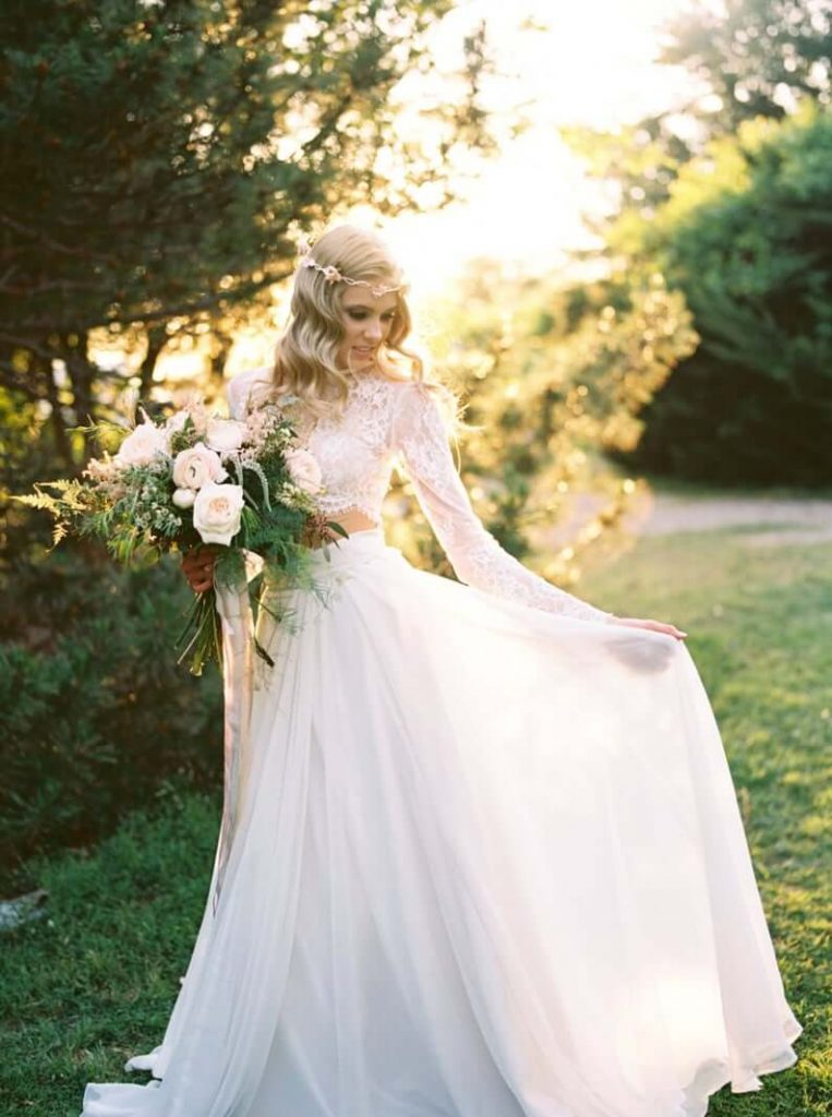 Bride wearing bridal separates