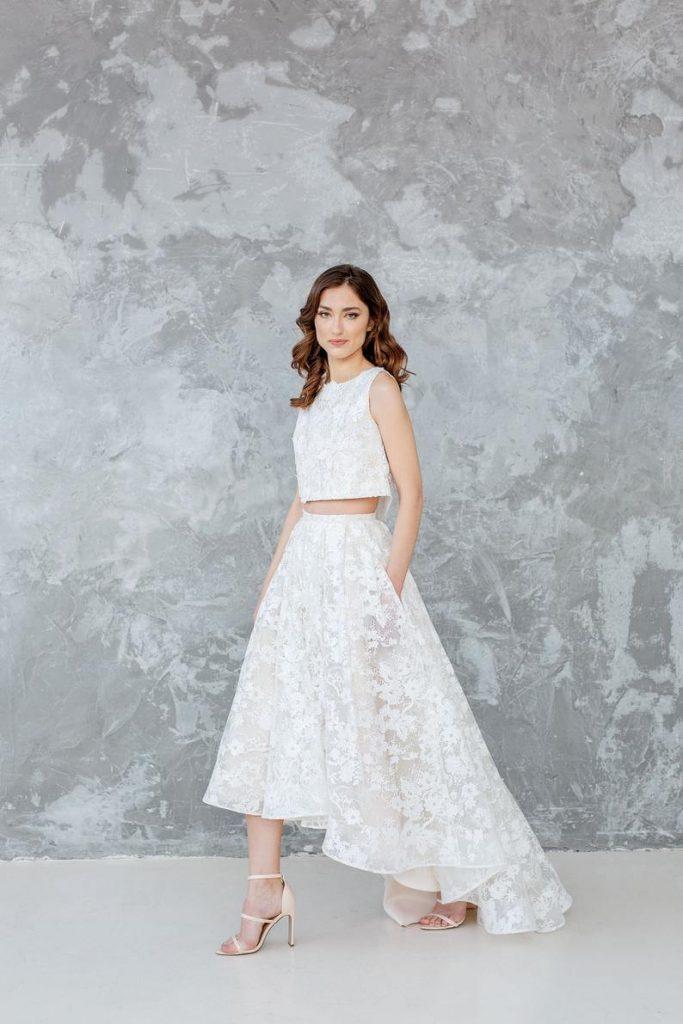 Bride wearing white bridal separates