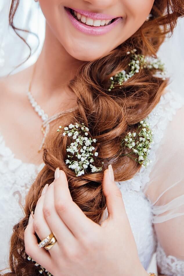 Bride wearing hair-vines