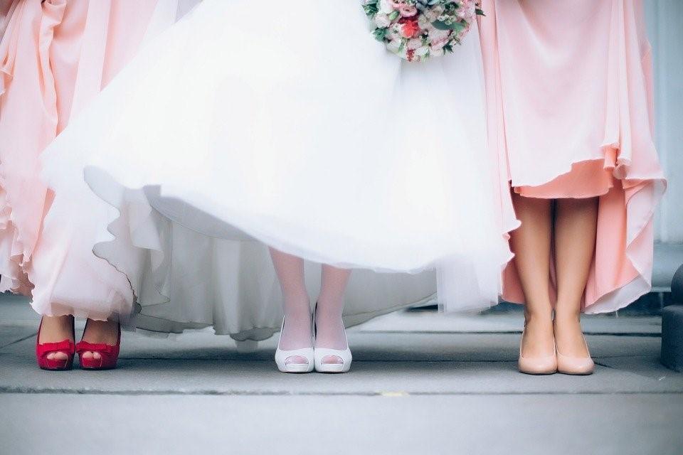 Wedding, Bride, Bouquet, Bridesmaid Dress, White Dress
