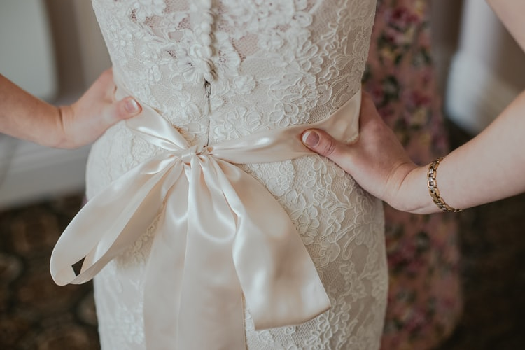 Bridal dress with belt