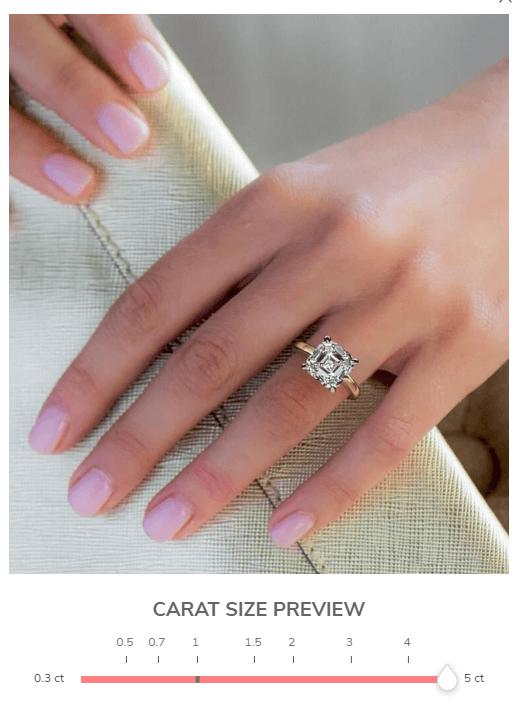 5 carat asscher engagement ring on girl's finger