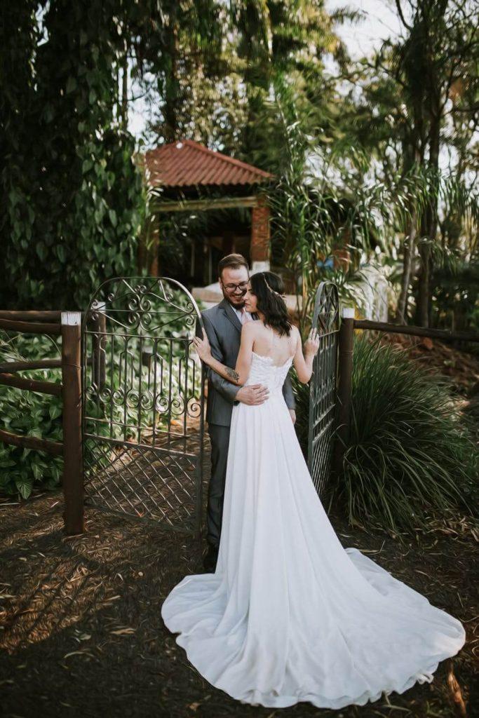 Bride wearing chapel train wedding dress