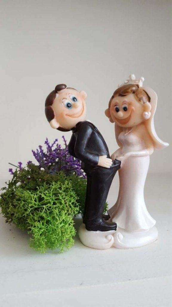 Couple figurine funny cake topper