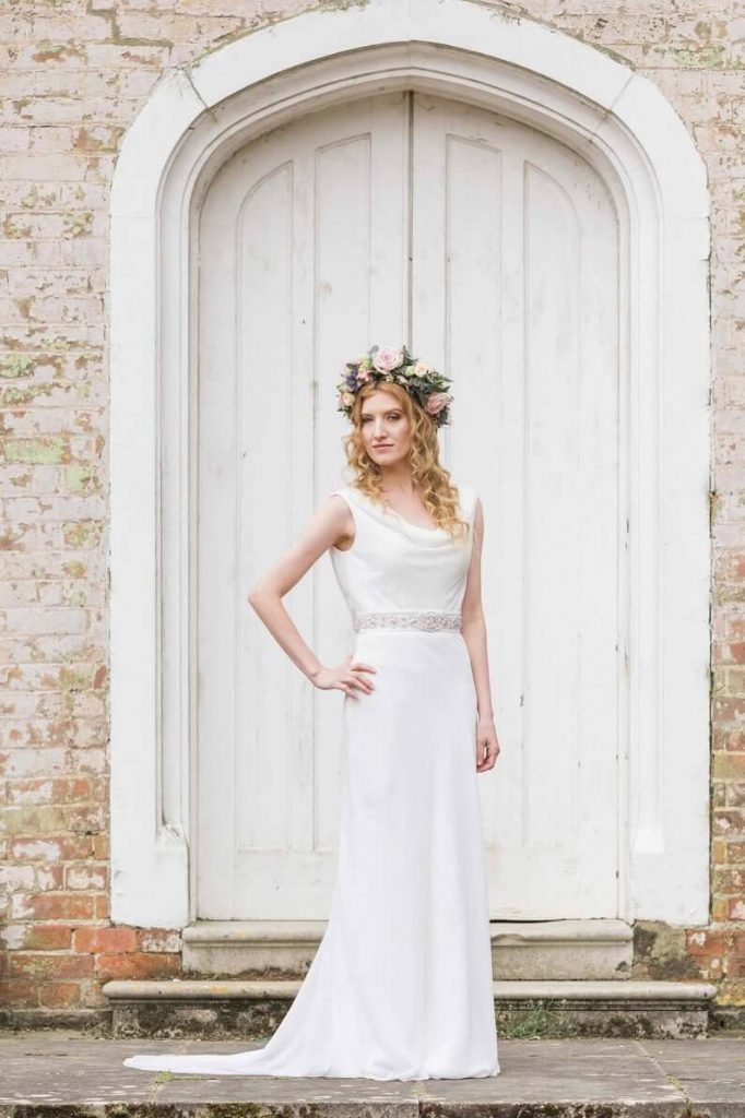 Cowl neckline wedding dress