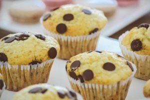 chip chocolate muffin close up