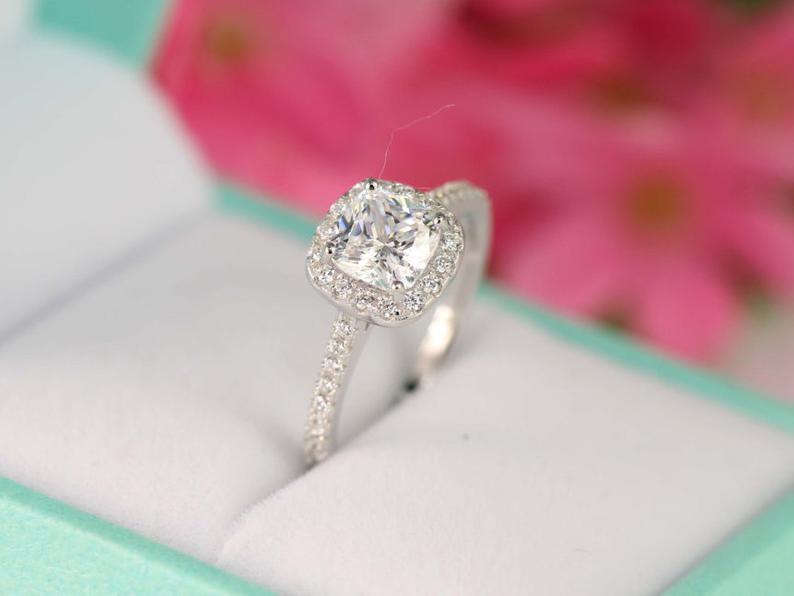 cz engagement ring closeup
